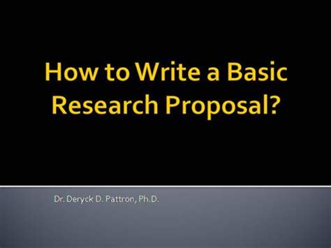 How to write a good research proposal background